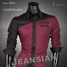Jeansian Mens Shirts Dress Casual Slim Fit Fashion Tops 4 Colors 5 Sizes Z015
