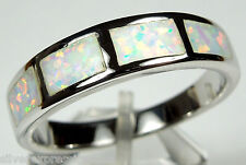 Quality White Fire Opal Inlay Solid 925 Sterling Silver Men's Band Ring Sz 10-13
