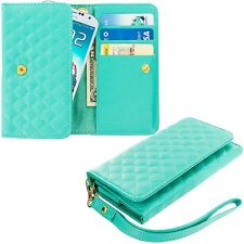 Mint Green Luxury Wallet Flip Pouch Case Cover Card ID Holder Lanyard for Phones