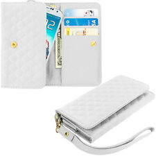 White Luxury Wallet Flip Pouch Case Cover Card ID Holder Lanyard for Phones