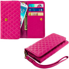 Hot Pink Luxury Wallet Flip Pouch Case Cover Card ID Holder Lanyard for Phones