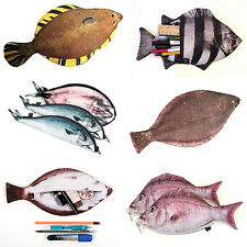 REAL Fish-like Zipper Pencil Case Pen & Make-up Pouch Funny Design