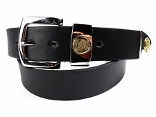 MENS HIGH QUALITY BLACK LEATHER BELT WITH SILVER BUCKLE BY MILANO 2752