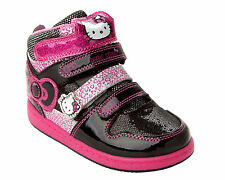 GIRLS OFFICIAL HELLO KITTY BLACK PINK HI TOP TRAINERS SHOES BOOTS UK SIZE 8-2