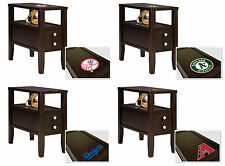 FC610 MLB BASEBALL TEAM THEME ESPRESSO CAPPUCCINO WOOD SIDE END TABLE NIGHTSTAND