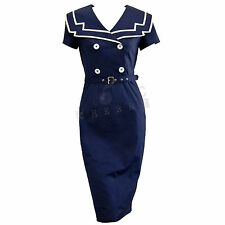 Sailor Pencil Dress Rockabilly Pin Up Costume Retro Vintage Cotton