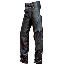 Unisex Black Premium Split Cowhide Fully Lined Leather Motorcycle Chaps