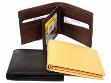 Leather BiFold Double Bill 10 Credit Card Slot 1 ID Window Men's Wallet