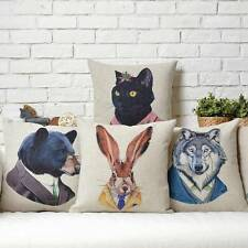 Rabbit Bear Wolf Leopard and Black Cat Linen Cushion Cover Throw Pillow Case