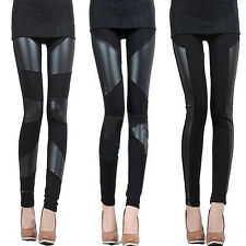 Fashion Women Sexy Stitching Stretchy Faux Leather Black Leggings Pants
