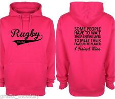 """Ladies Hoodie """"Rugby Mum"""" Text back and front Hoody"""