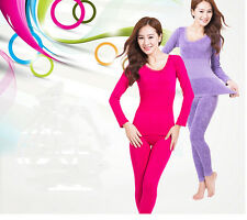 Womens Winter Underwear Top+Pant Long Johns Pajama Round Neck Thermal Sets Warm