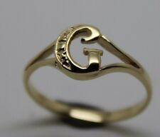 KAEDESIGNS, GENUINE, SOLID YELLOW OR ROSE OR WHITE GOLD 375 INITIAL RING G