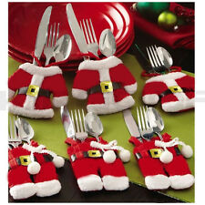 CHRISTMAS SANTA SUIT CUTLERY HOLDER SILVERWARE TABLE DECORATION PLACE SETTINGS