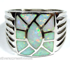 White Fire Opal Inlay 925 Sterling Silver  Men's, Woman  Ring Sizes 7, 8, 9.5