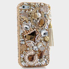 iPhone 6 6S / 6S Plus 5S Bling Crystals Case Cover Gold Purse Vintage Tassel