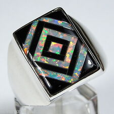 White Fire Opal & Black Jet Inlay 925 Sterling Silver Men's Ring Size 9 - 11.5