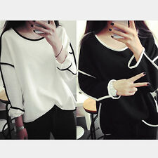 Lady Girl Round Neck Sweater Long Sleeve Pullover Soft Loose Tops Sweater GOCG