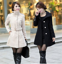 2014 new autumn and winter fashion women long section Slim lapel wool coat 9109