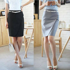 OL Lady High Waist Fit Knee Length Straight Formal Pencil Business Skirt Belted