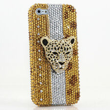 iPhone 6 6S / 6S Plus 5S Bling Crystals Case Cover Gold Brown Leopard Chain