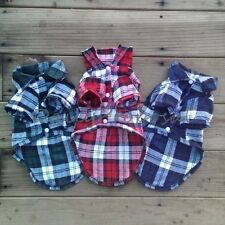 Plaid Checkered Collar Shirt Pet Clothes Dog Cat Button Costume Xs-L 3 Colors