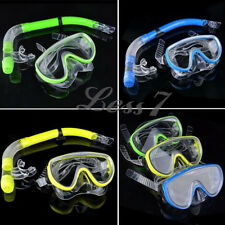 Yellow Green Blue Adjustable Strap Swimming Goggle Mask Snorkel Set J