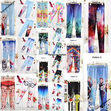 Girls Disney Winter Frozen Elsa & Anna Digital Print Kid Leggings Pants Trousers
