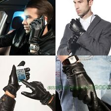 Men's Nappa Leather Touch Screen Gloves Worm Fleece Lining For Iphone Smartphone