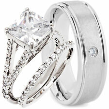His Hers New Mens TITANIUM 8MM Band and 2 pc Womens Engagement Wedding Ring Set