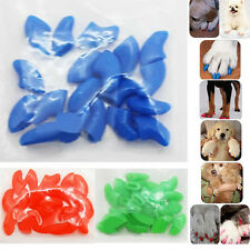 New 20pcs Soft Cat Pet Nail Caps Claw Control Paws off+Adhesive Glue GOCG