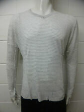 Mens Zara V Neck Jumper Sweater Fine Knit White Stripes - Grey Size XL D49