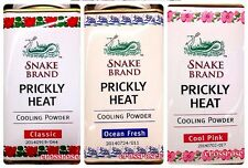 Snake Brand Prickly Heat Cooling Powder Classic Pink Ocean Fresh 150g. Free Ship