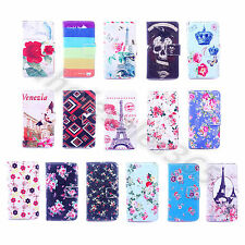 1x For Various Cellphone 16 Patterns Wallet Card PU Leather Flip Stand Case Skin
