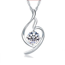 New Fashion Jewelry Women 925 Sterling Silver Crystal Necklace Pendant Nice Gift