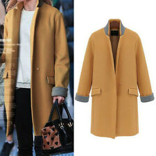 Fashion Womens WOOL Cashmere Long Winter Coat Trench Blazer Suit Jacket Outwear