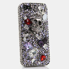 iPhone 6 6S / 6S Plus 5S Bling Crystals Case Cover Grey Skull Purple Diamonds