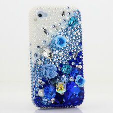iPhone 6 6S / 6S Plus 5S Bling Crystals Case Cover Pearls faded Blue Flowers