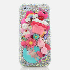 iPhone 6 6S / 6S Plus 5S Bling Crystal Case Cover AB Pink Cupcake Doll Flowers