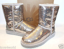UGG Australia Classic Short Sparkles Silver Sequins Boots Womens  - Sizes 5 - 11