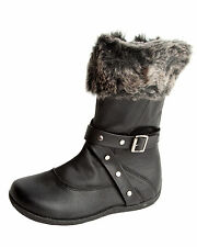GIRLS BLACK SCHOOL FAUX FUR CUFF MID CALF BUCKLE ZIP WINTER BOOTS  UK SIZE 11-1