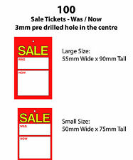 100 Sale Swing Tickets. WAS NOW Labels suitable for use with tagging gun