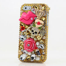 iPhone 6 6S / 6S Plus 5S Bling Crystal Case Cover Gold Skull Pink Kiss Crown