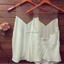 Sexy Women Sheer Lace Crochet Tee Chiffon Shirt Top Blouse White HOT SALE HD23L