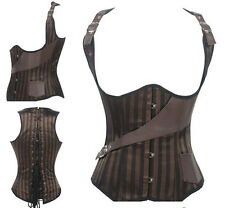 Steel Boned Satin Vest Corset Bustier Brown Steampunk Corset Top