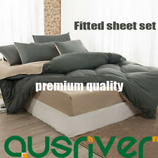 Premium Solid Double/Queen Size Fitted Sheet Bedding Quilt/Doona Cover 4Pcs Sets