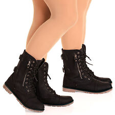 D3Z Womens Lace Up Flat Army Ankle Boots Zip Detail Military Girls Ladies Shoes