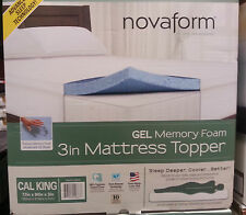 Novaform Gel Memory Foam 3in Mattress Topper 100% Egyptian Cotton NIB Dif Sizes