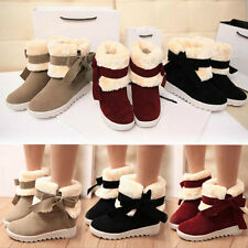 girl Faux Fur Lined Bowknot Comfort Flats Warm Snow Winter Boots Ankle Booties