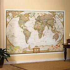 """World Map Mural National Geographic Antique Style Earth Tone Wallpaper 116""""x76"""""""